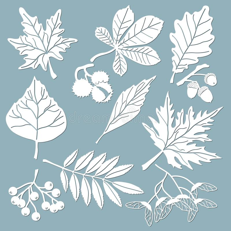 Ajuste o molde para o corte e o plotador do laser Carvalho, bordo, Rowan, castanha, bagas, bolota, sementes, vidoeiro, cinza Folh ilustração stock