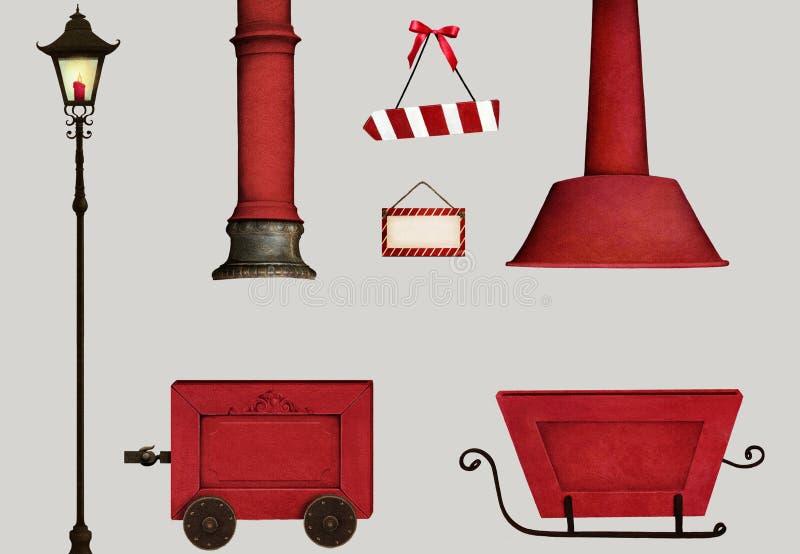 Ajuste o objeto do Natal do isolamento foto de stock royalty free
