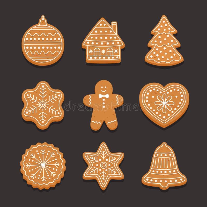 Ajuste o pão-de-espécie do Natal: casa de pão-de-espécie, floco de neve, coração, árvore do xmas e sino no fundo escuro ilustração do vetor