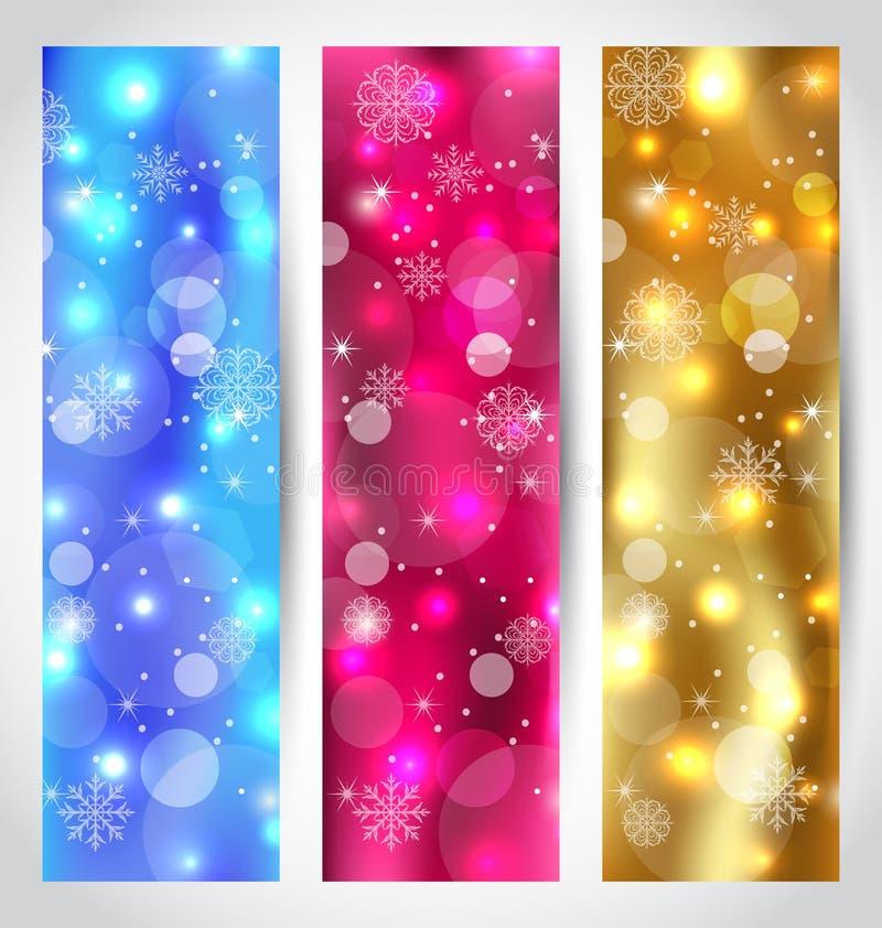 Ajuste o papel de parede do Natal com flocos de neve ilustração do vetor