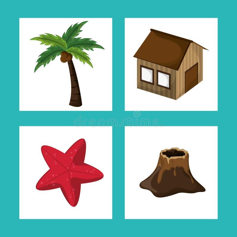 Ajuste o paraíso tropical da ilha ilustração royalty free