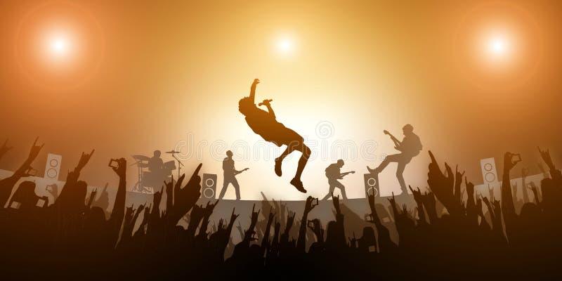 Ajuste o partido da multidão e a luz ambarina do sumário do festival da faixa da música no fundo ilustração royalty free