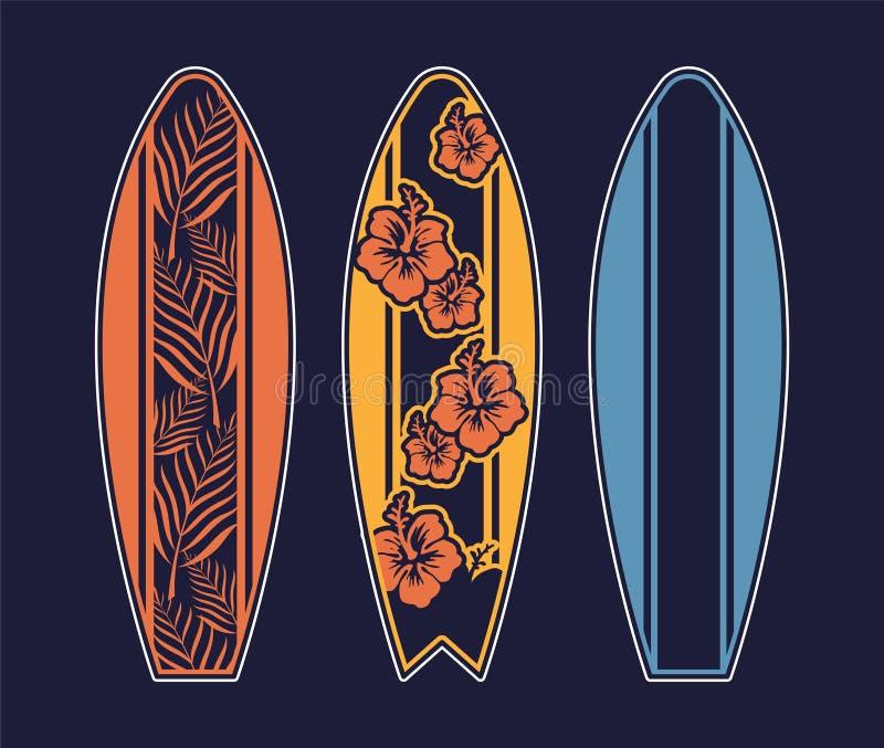 Ajuste o projeto da cópia da prancha para surfar ilustração stock