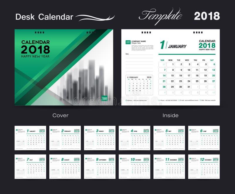 Ajuste o projeto 2018, tampa do molde do calendário de mesa do verde ilustração stock