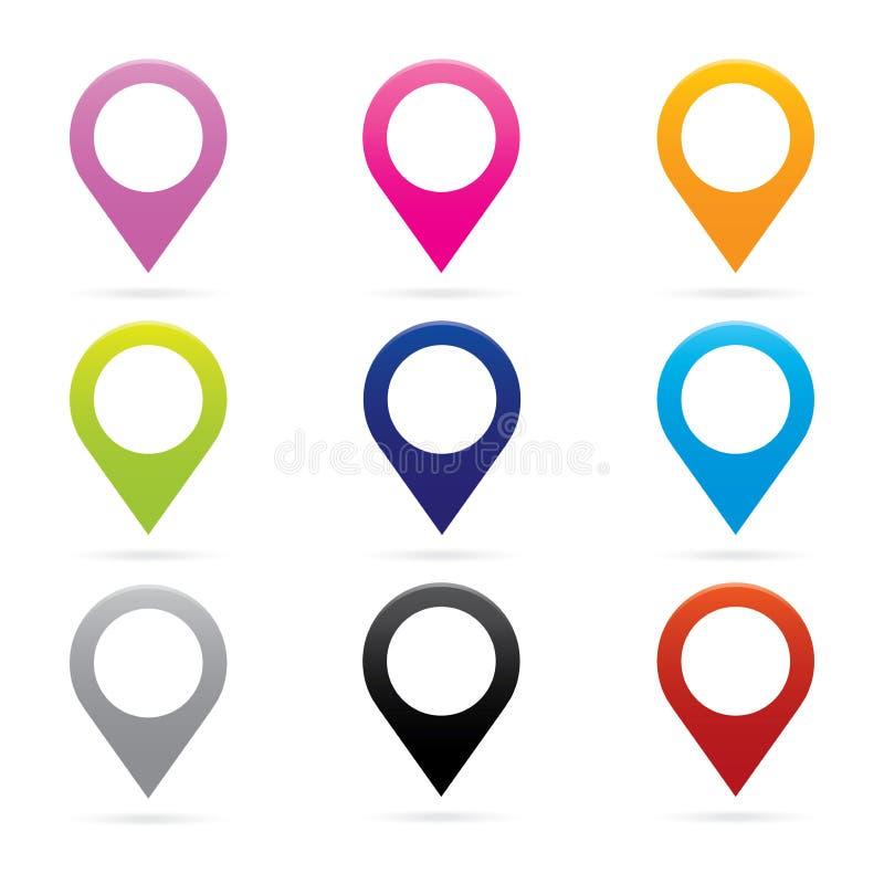Ajuste o símbolo da bandeira do lugar de GPS do marcador do ícone do ponteiro do mapa ilustração do vetor