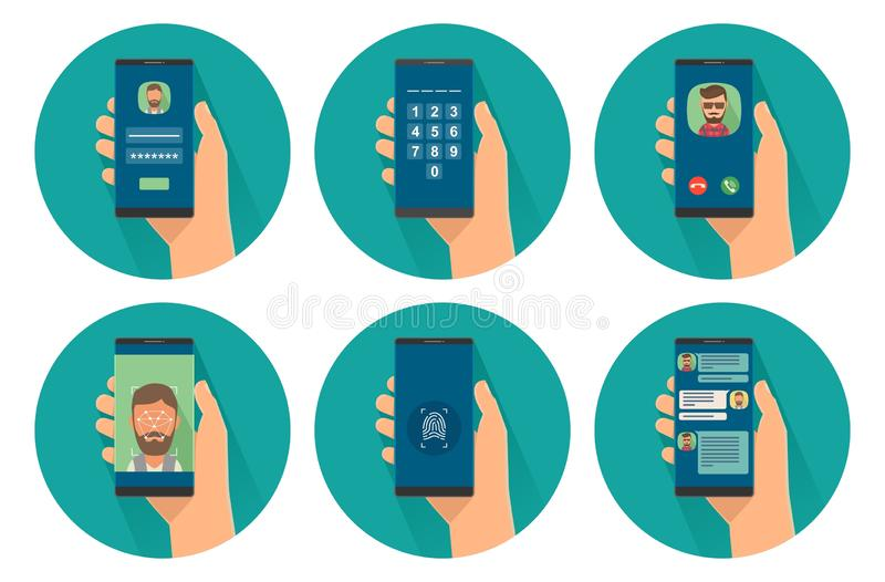 Ajuste o smartphone guardando masculino do ícone com acesso da segurança do conceito ao telefone e o communi na tela ilustração stock