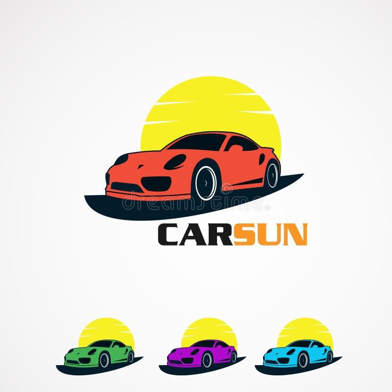 Ajuste o sol do carro com ícone, elemento, e molde simples do vetor do logotipo do conceito para a empresa ilustração stock