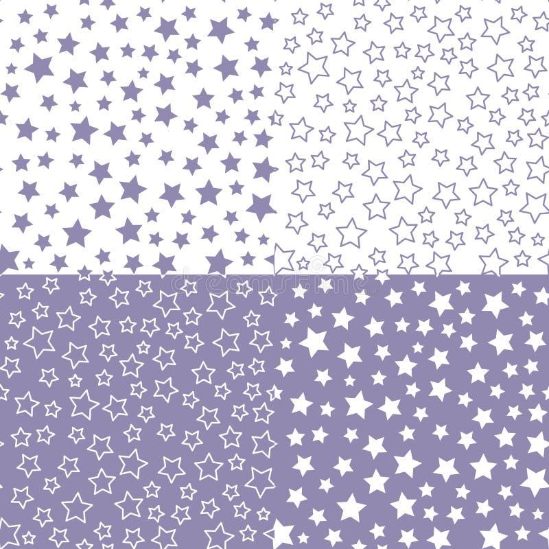 Ajuste o teste padrão sem emenda da estrela do vetor Paleta de cores azul Projeto de matéria têxtil para a festa do bebê ilustração do vetor