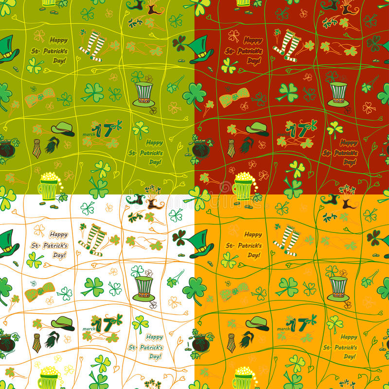 Ajuste o teste padrão sem emenda do dia de St Patrick do irlandês com símbolos lisos do feriado em cores diferentes Ilustração do ilustração royalty free