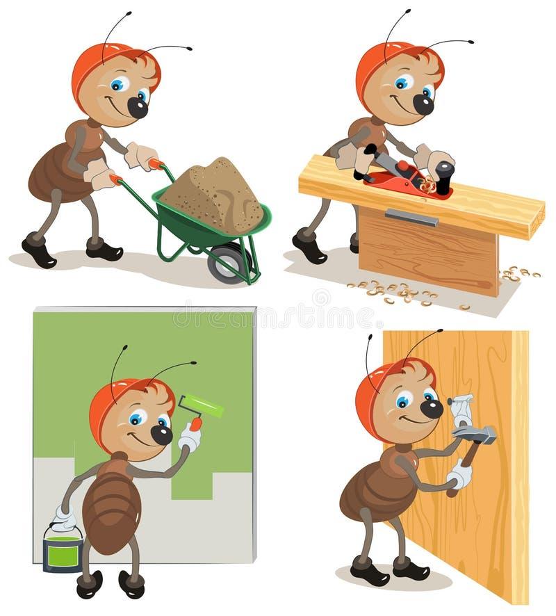 Ajuste o trabalhador da formiga ilustração stock