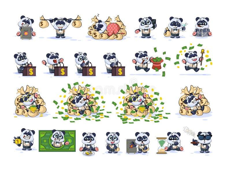 Ajuste o urso de panda em emoticons das etiquetas do terno de negócio ilustração do vetor