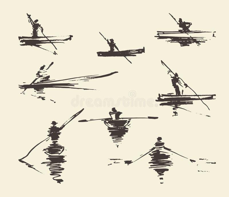 Ajuste o vetor tirado mão do barco do homem das ilustrações ilustração royalty free