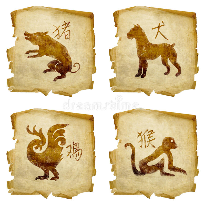 Ajuste o zodíaco #06 velho do ícone ilustração royalty free