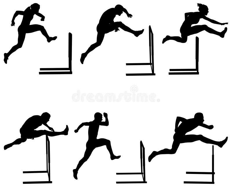 Ajuste obstáculos running do atletismo ilustração royalty free