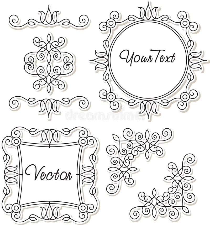 Ajuste ornamento e frames do vintage ilustração royalty free