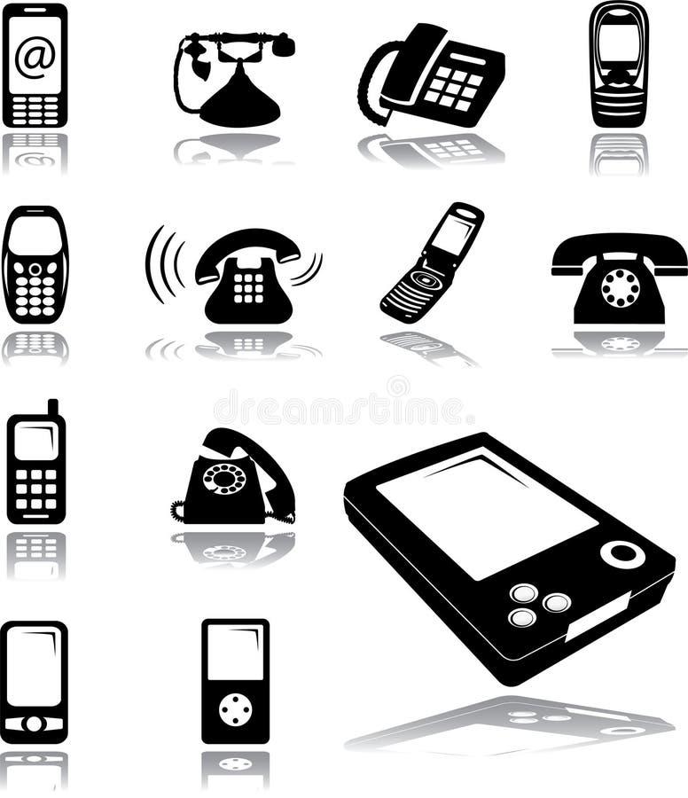 Ajuste os ícones - 134. Telefones ilustração royalty free