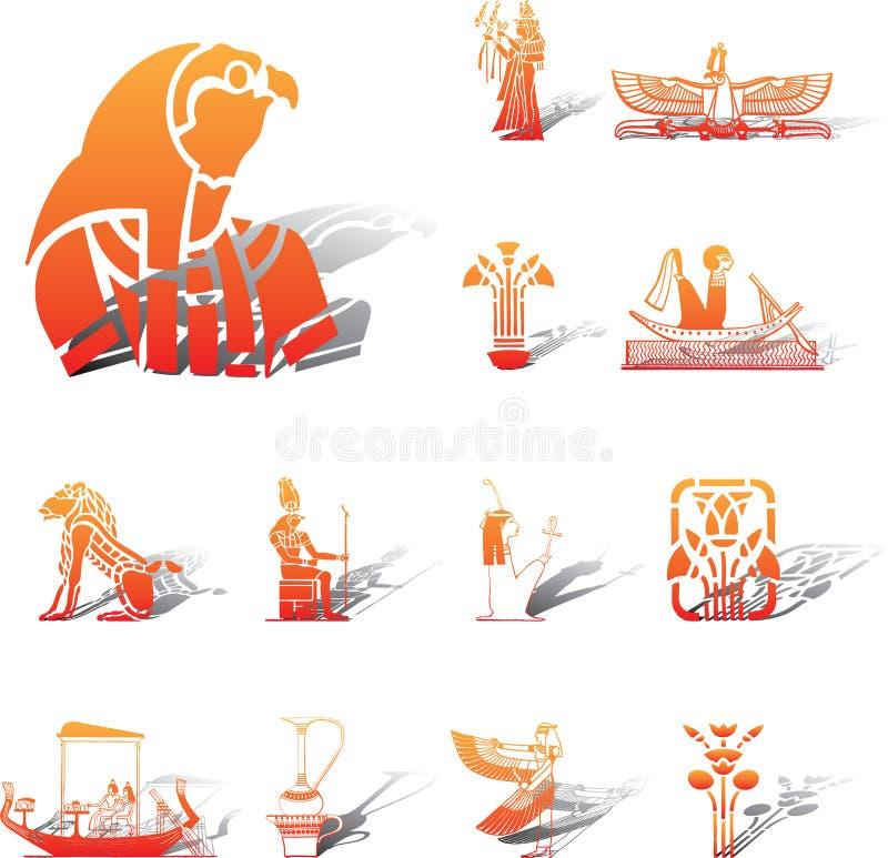 Ajuste os ícones - 96A. Egipto ilustração stock