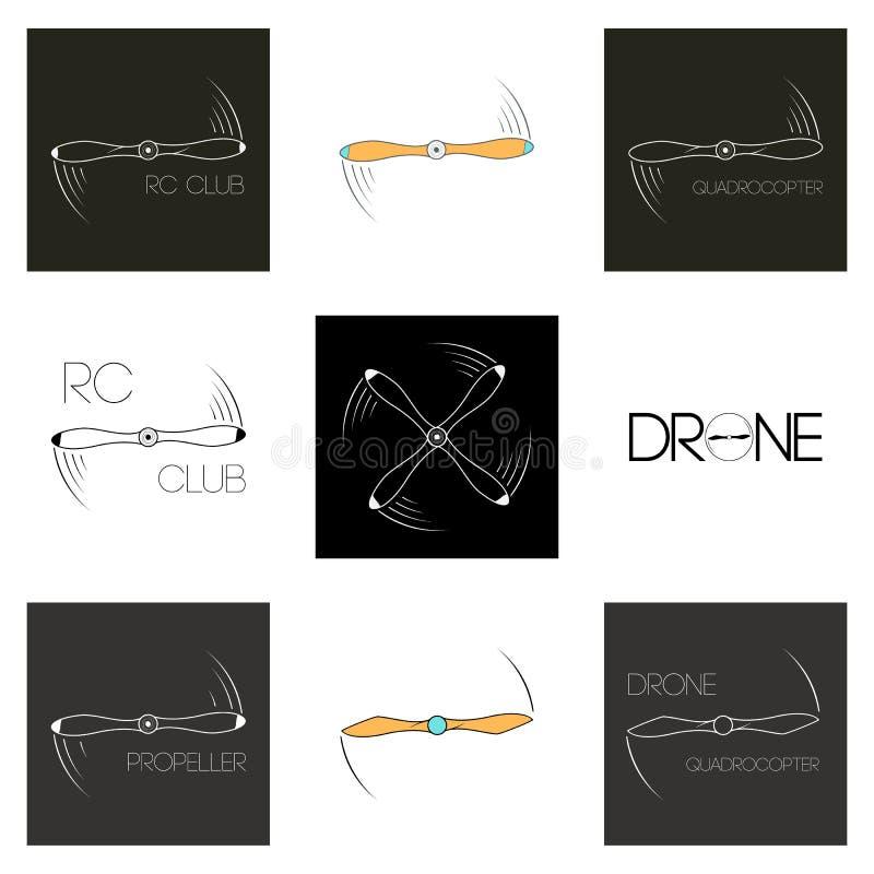 Ajuste os ícones que giram a hélice Aviões do logotipo Quadrocopter do símbolo ilustração do vetor