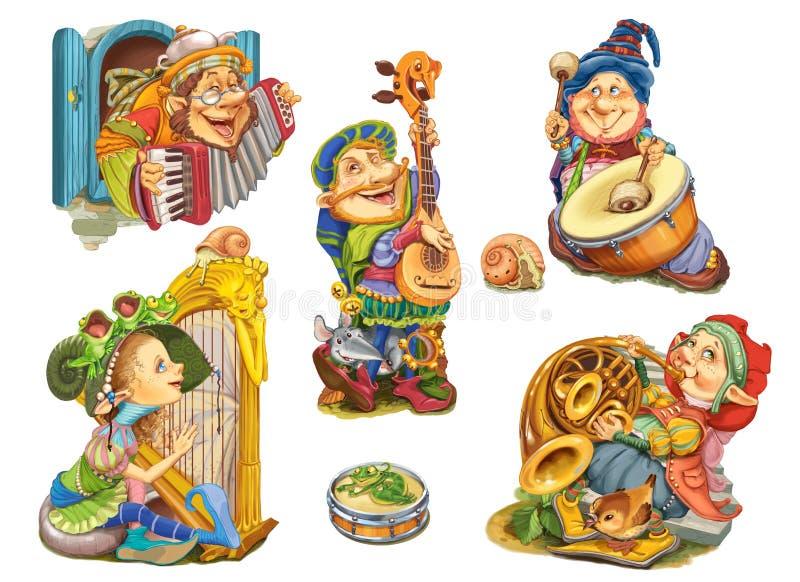 Ajuste os duendes que jogam instrumentos musicais ilustração stock