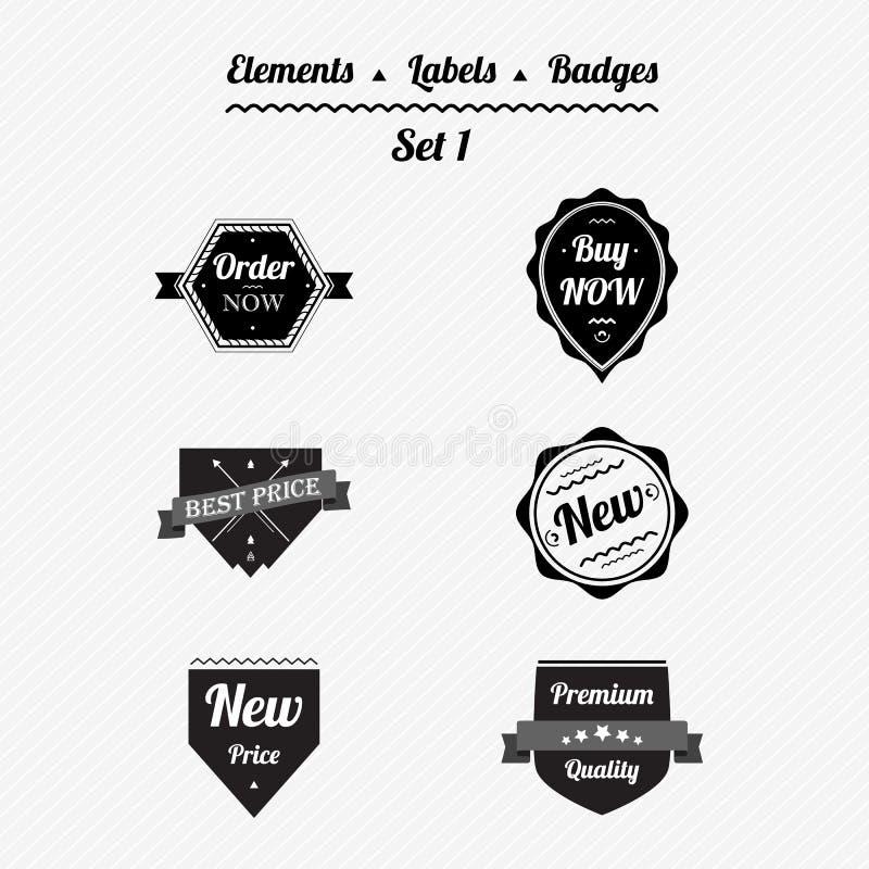 Ajuste os elementos 1, as etiquetas e os crachás em um estilo retro ilustração royalty free