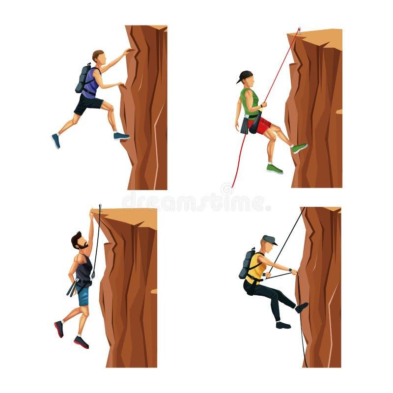 Ajuste os homens de cena que escalam em uma montanha da rocha sem equipamento ilustração do vetor