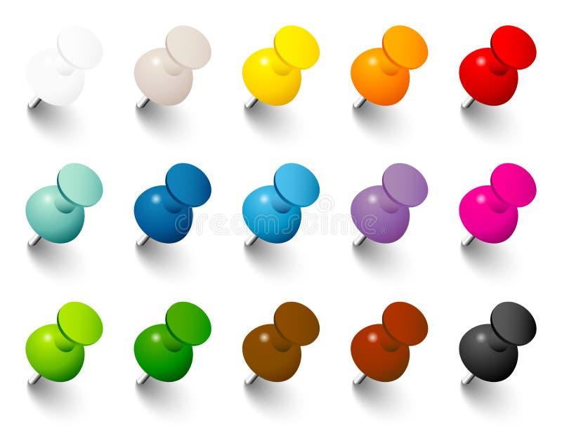 Ajuste os pinos com sombra em quinze cores ilustração royalty free