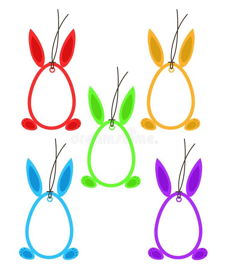Ajuste 5 ovos Bunny Ears Feet Frame Color dos Hangtags da Páscoa no branco, ilustração stock