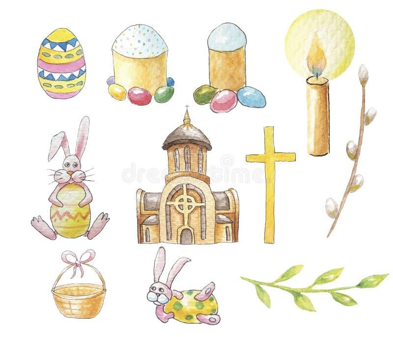Ajuste a Páscoa da igreja, dos coelhos e do bolo da Páscoa para suas decisões ilustração royalty free