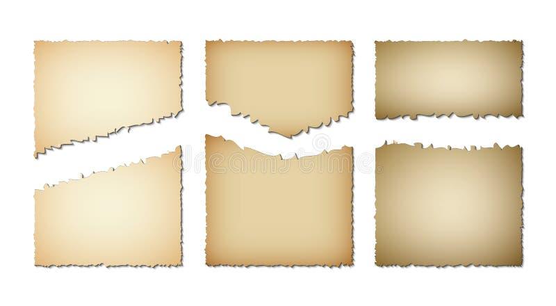 Ajuste papel velho das bordas rasgadas Textura do Grunge do papel velho no fundo branco Ilustração do vetor ilustração stock
