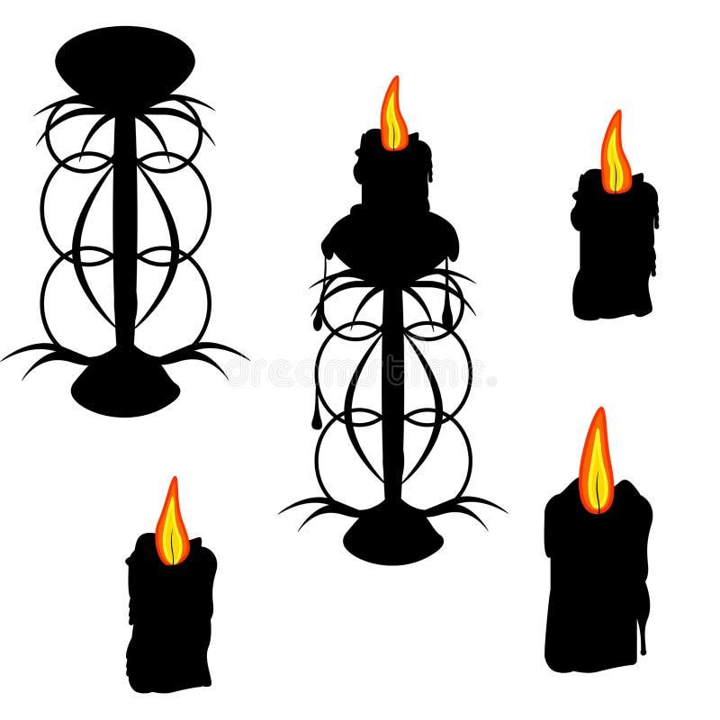 Ajuste para Dia das Bruxas Grupo de Dia das Bruxas de candelabros e de velas ilustração royalty free