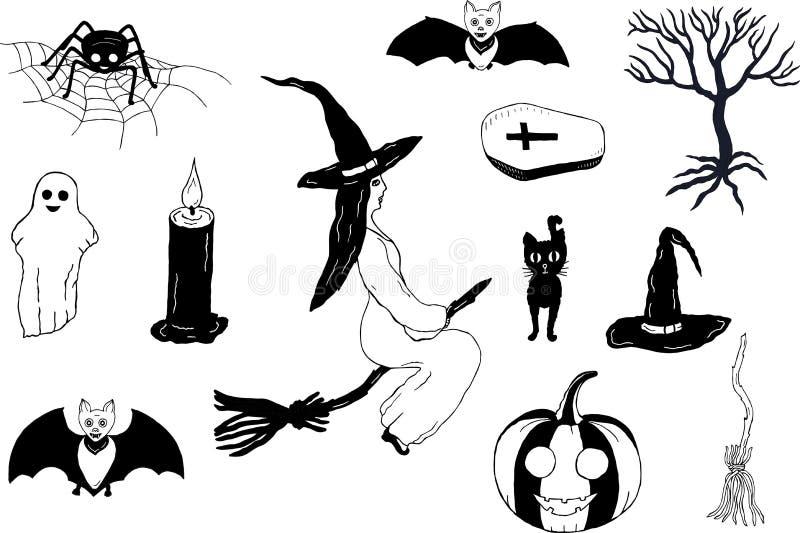 Ajuste para Dia das Bruxas Rebecca 36 Desenhar à mão Vetor ilustração royalty free
