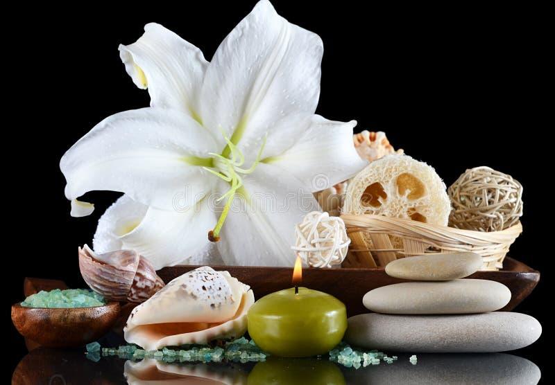 Ajuste para a massagem e uma casca - Termas-procedimentos foto de stock