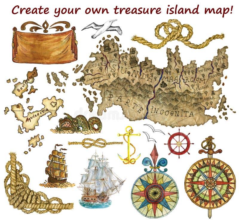 Ajuste para o mapa da ilha do tesouro isolado ilustração do vetor