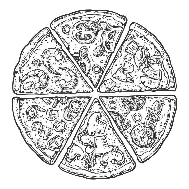 Ajuste Pepperoni da pizza da fatia ilustração stock