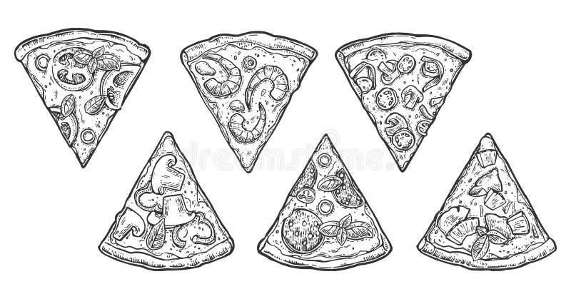 Ajuste Pepperoni da pizza da fatia, Hawaiian, Margherita, mexicano, marisco, Capricciosa ilustração royalty free