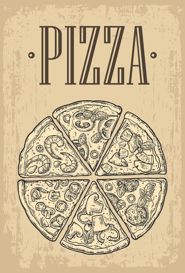 Ajuste Pepperoni da pizza da fatia, Hawaiian, Margherita, mexicano, marisco, Capricciosa ilustração stock