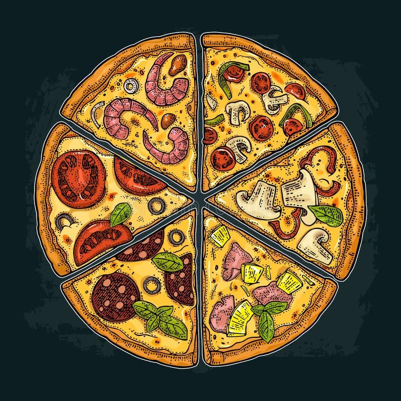 Ajuste Pepperoni da pizza da fatia, Hawaiian, Margherita, mexicano, marisco, Capricciosa Ilustração da gravura do vetor do vintag ilustração royalty free