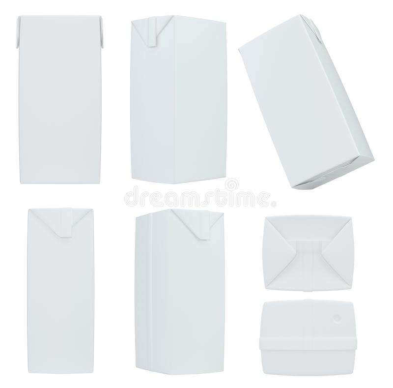 Ajuste a placa branca de empacotamento da caixa do pacote da caixa do leite ou do suco rendição 3d ilustração do vetor