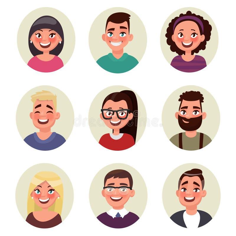 Ajuste povos dos avatars Vetor ilustração stock