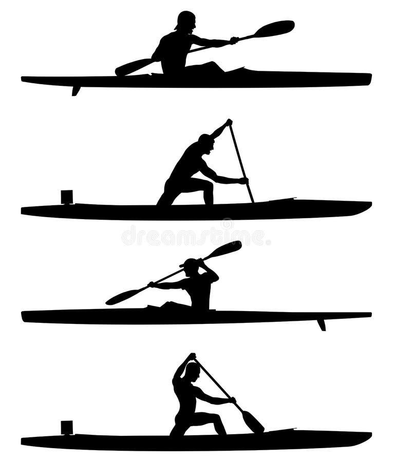 Ajuste remadores caiaque e canoa ilustração stock