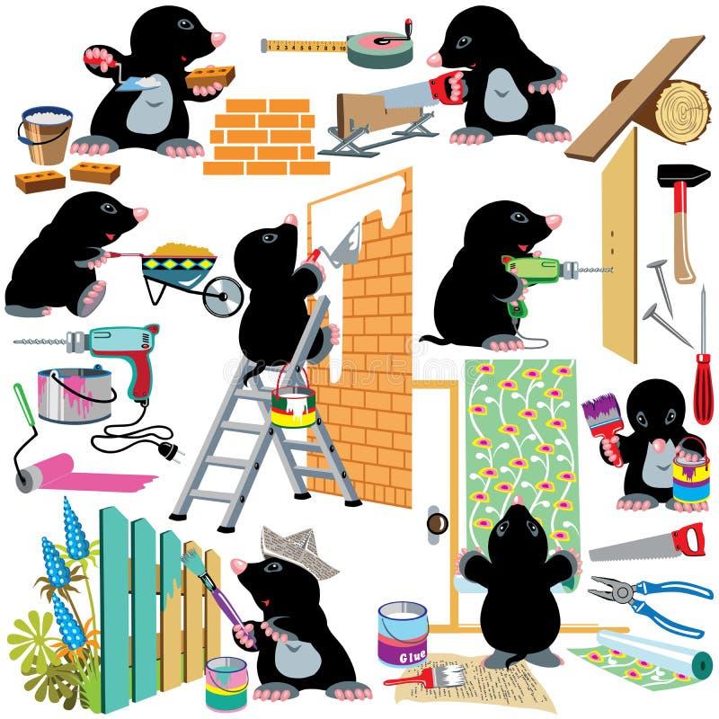 Ajuste a renovação home ilustração stock