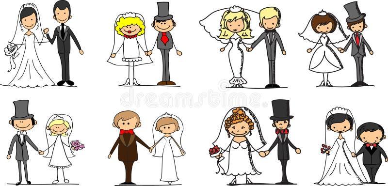 Ajuste retratos do casamento, vetor ilustração do vetor