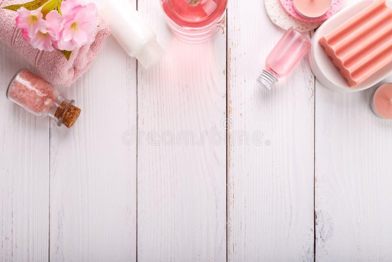 Ajuste rosado del balneario imagenes de archivo