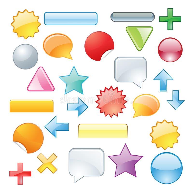 Ajuste símbolos coloridos ilustração royalty free