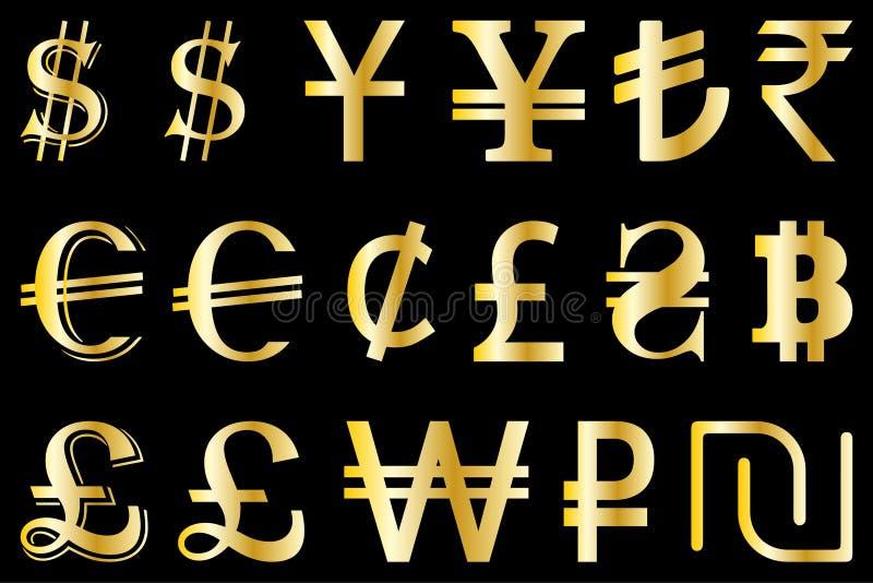 Ajuste símbolos da ilustração principal do vetor das moedas do mundo ilustração do vetor