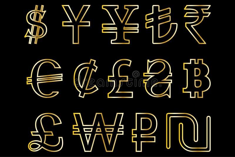 Ajuste símbolos da ilustração principal do vetor das moedas do mundo ilustração stock