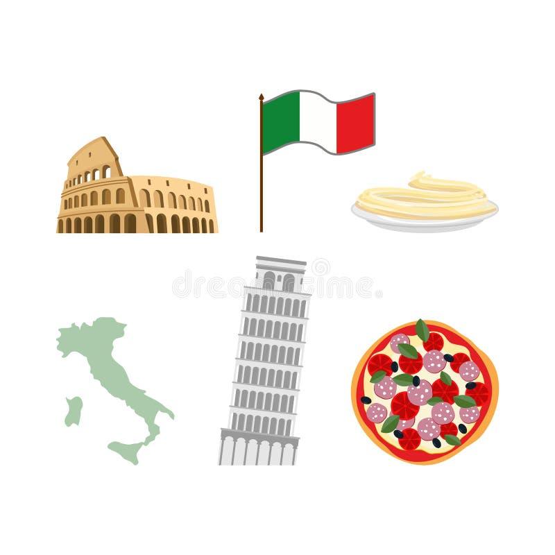 Ajuste símbolos dos ícones de Itália Bandeira e mapa, Colosseum e leanin ilustração stock