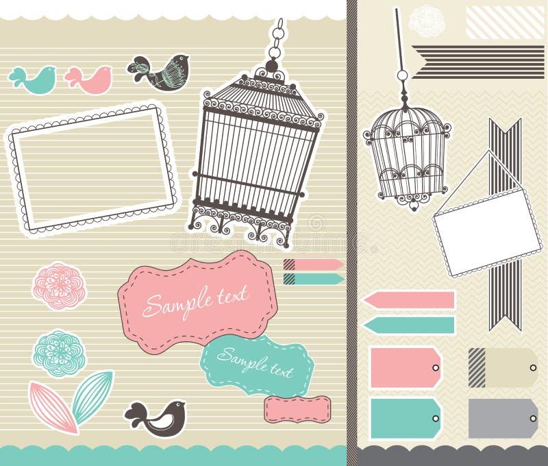 Ajuste scrapbooking com birdcage e frames ilustração stock