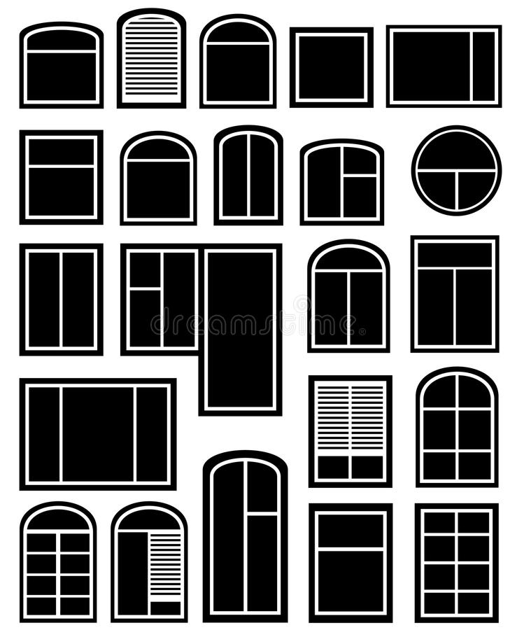 Ajuste a silhueta da janela ilustração royalty free