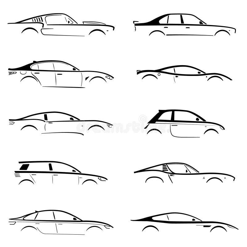 Ajuste a silhueta preta do carro do conceito ilustração royalty free